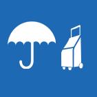 Paraguas listo y trolley bolsas